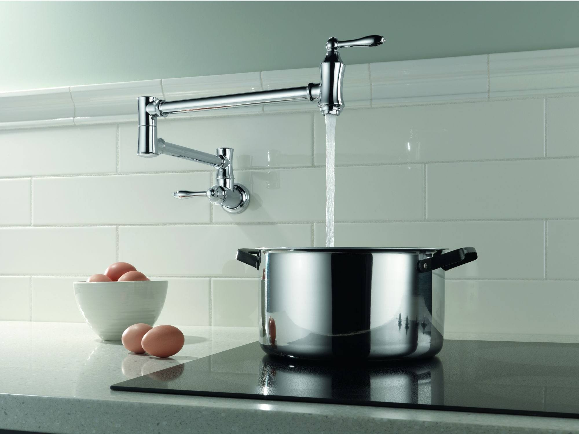 Delta 1177lf ss pot filler faucet wall mount review for Most popular kitchen faucets