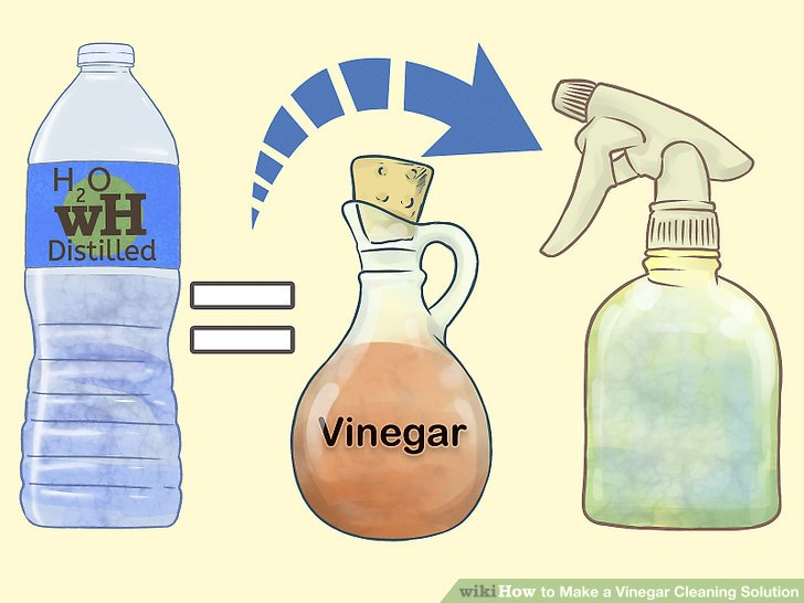 illustration of water and vinegar to be combined in a spray bottle